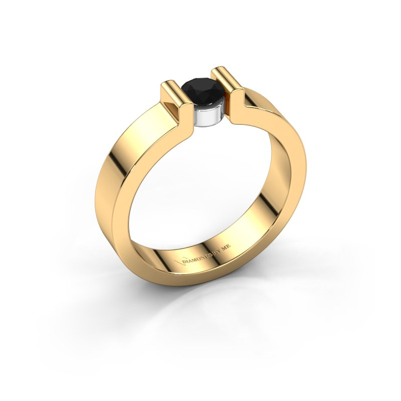 Verlovingsring Isabel 1 585 goud zwarte diamant 0.30 crt