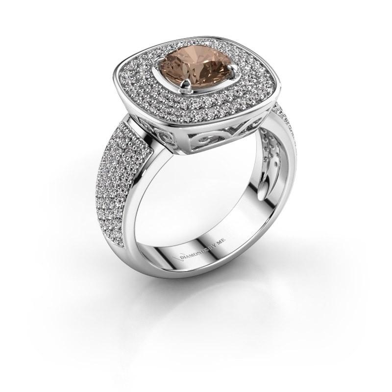 Ring Eliana 950 platina bruine diamant 1.54 crt