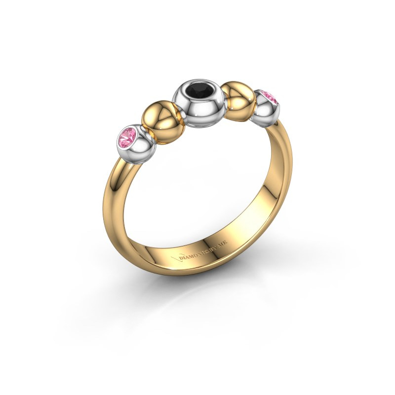 Stackable ring Lily 585 gold black diamond 0.072 crt