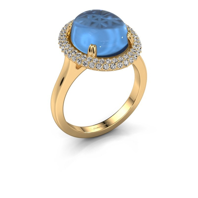Ring Jayna 585 gold blue topaz 12x10 mm