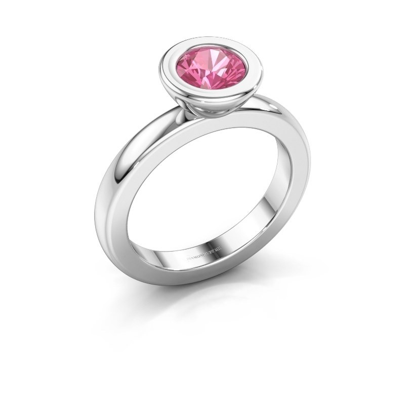 Stapelring Eloise Round 585 witgoud roze saffier 6 mm