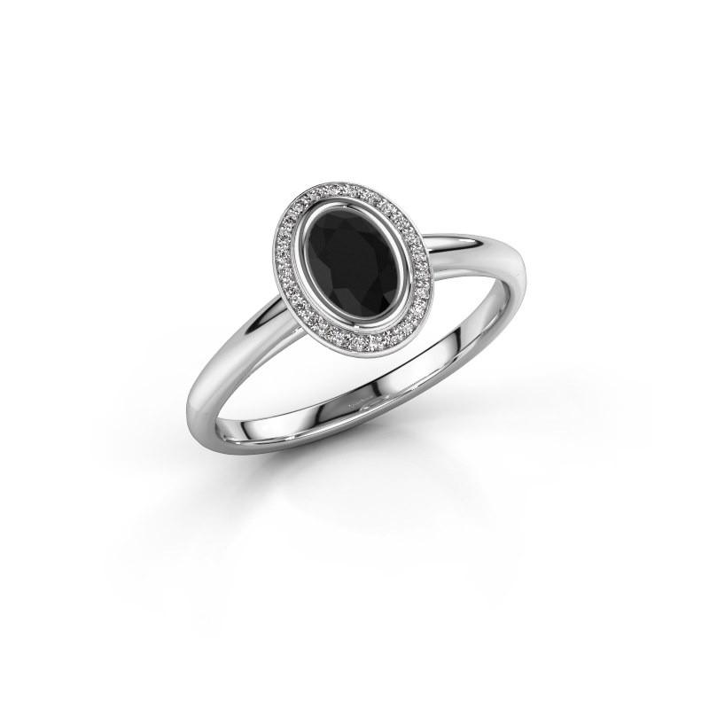 Verlovingsring Noud 1 OVL 925 zilver zwarte diamant 0.660 crt