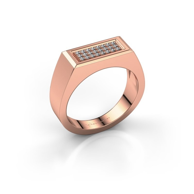 Men's ring Dree 6 375 rose gold lab-grown diamond 0.16 crt