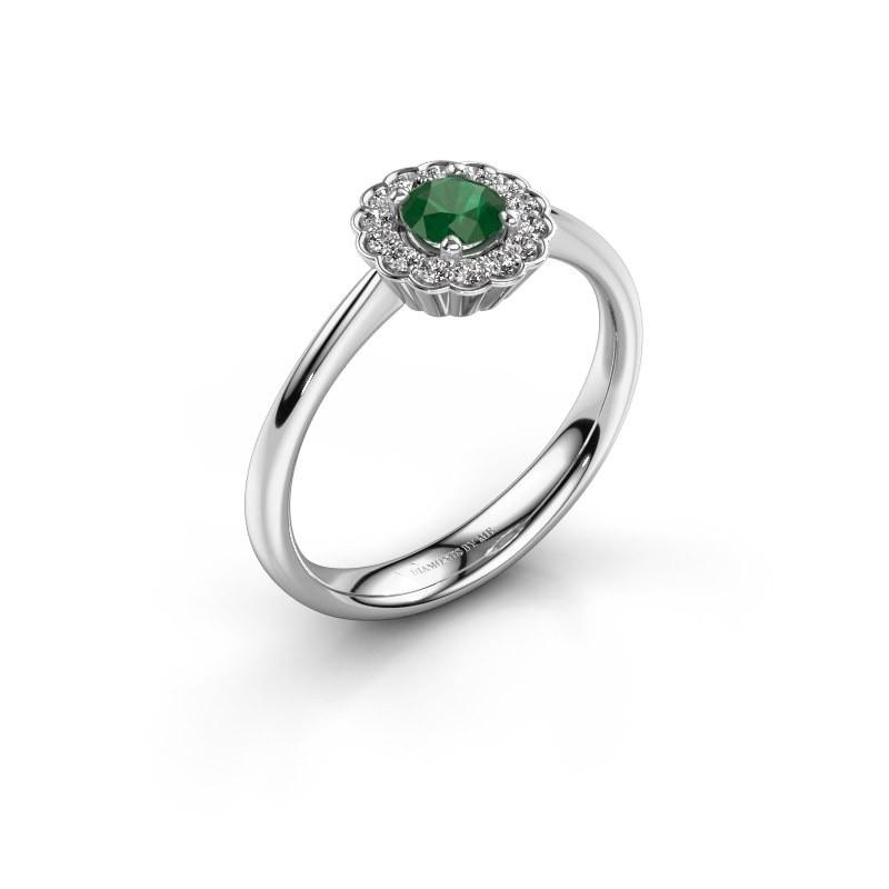 Verlovingsring Debi 585 witgoud smaragd 4.2 mm