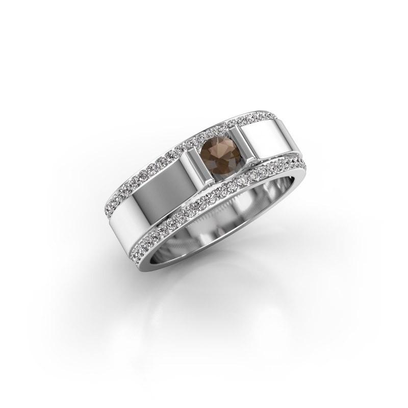 Men's ring Danillo 585 white gold smokey quartz 4.2 mm