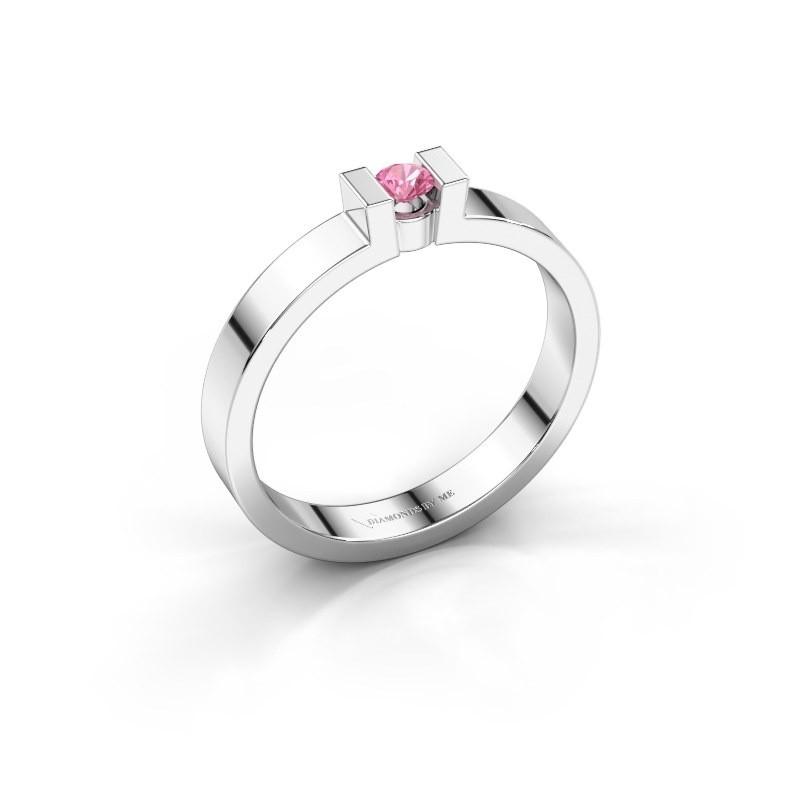 Verlovingsring Lieve 1 585 witgoud roze saffier 3 mm
