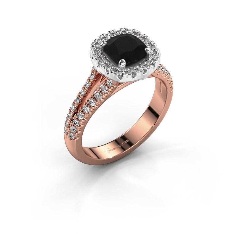 Verlovingsring Francesca 585 rosé goud zwarte diamant 1.89 crt