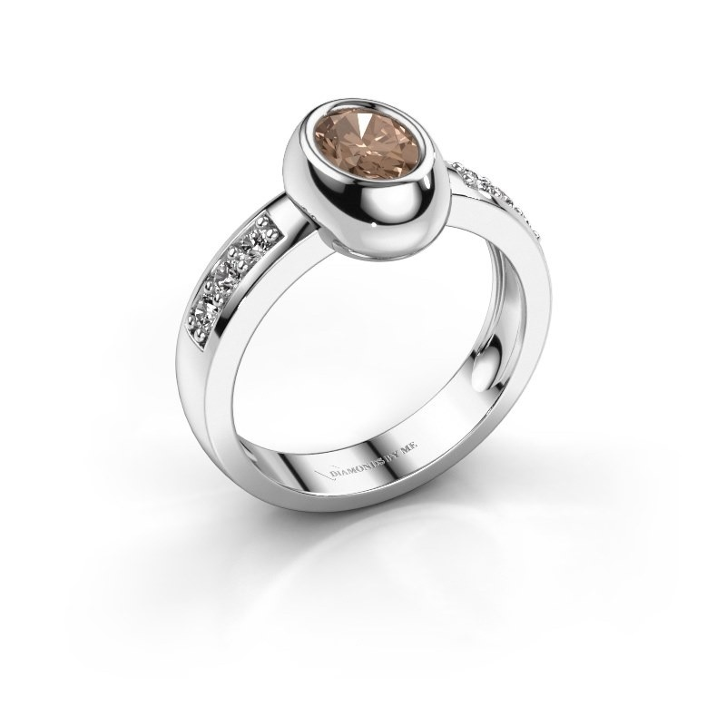 Ring Charlotte Oval 585 white gold brown diamond 0.98 crt