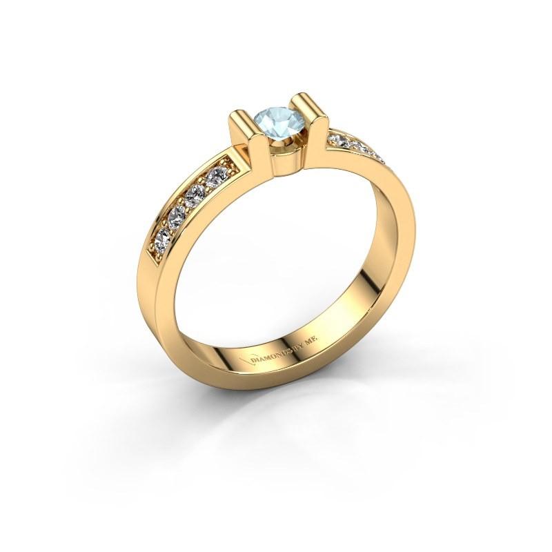 Verlovingsring Sofie 2 375 goud aquamarijn 3.4 mm