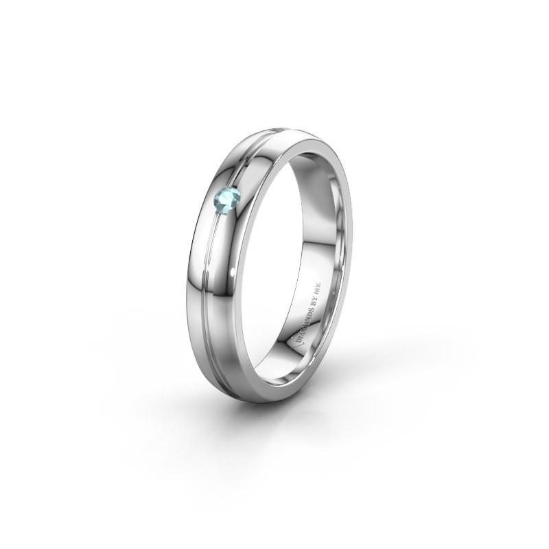 Trouwring WH0424L24A 925 zilver aquamarijn ±4x1.7 mm