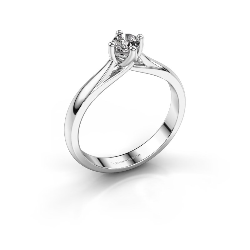Bague de fiançailles Janne 585 or blanc diamant synthétique 0.30 crt