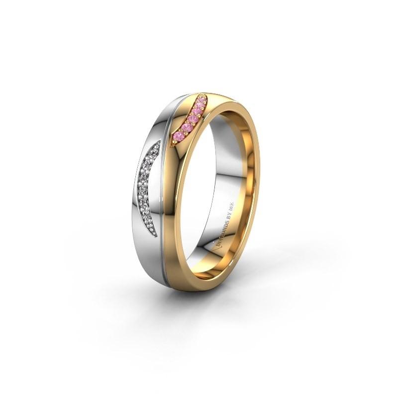 Trouwring WH2118L25A 585 goud roze saffier ±5x1.7 mm