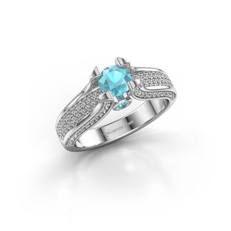 Verlovingsring Jeanne 2 585 witgoud blauw topaas 5 mm