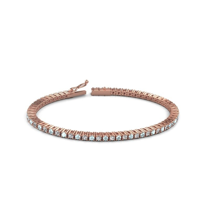 Tennis bracelet Karisma 375 rose gold aquamarine 2.4 mm