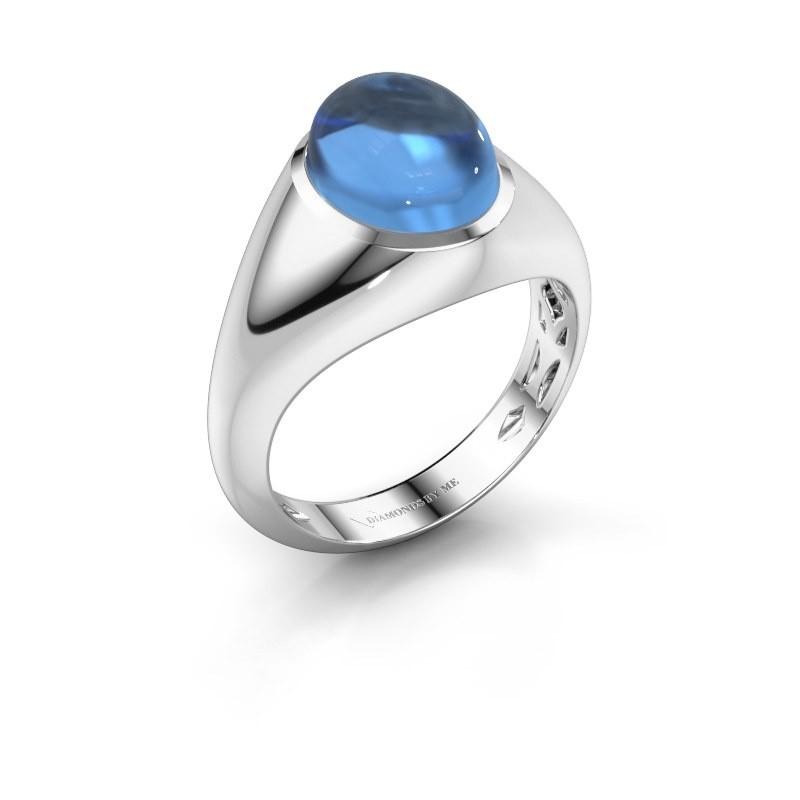 Ring Zaza 950 platina blauw topaas 10x8 mm