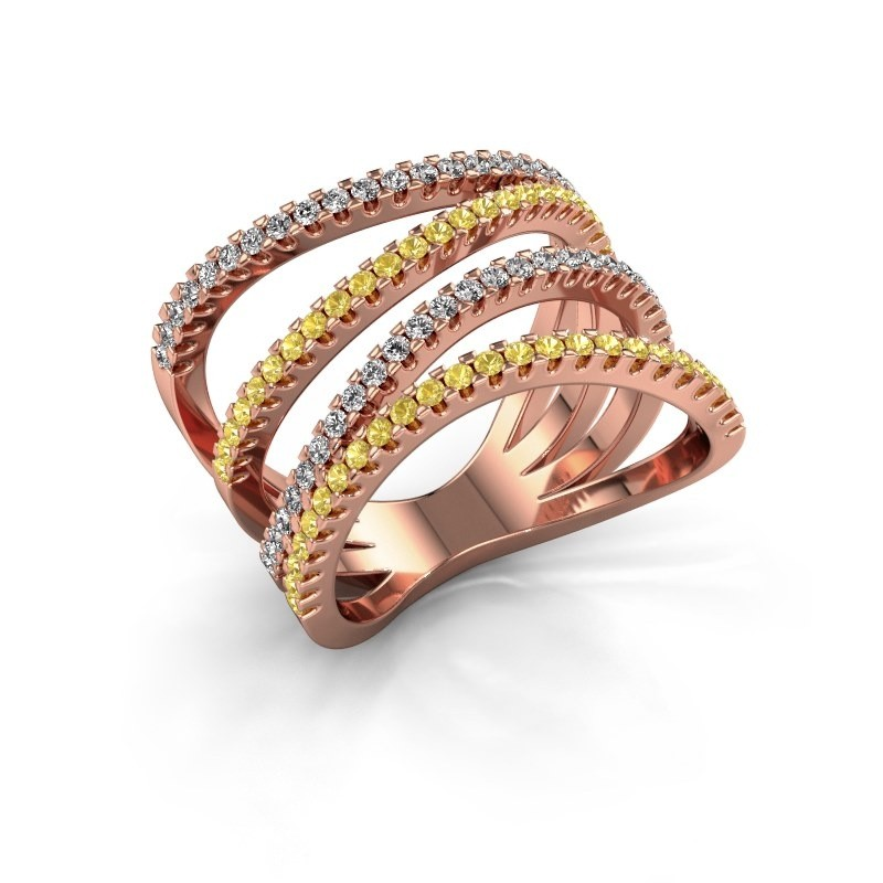 Ring Mitzi 375 rosé goud gele saffier 1.2 mm