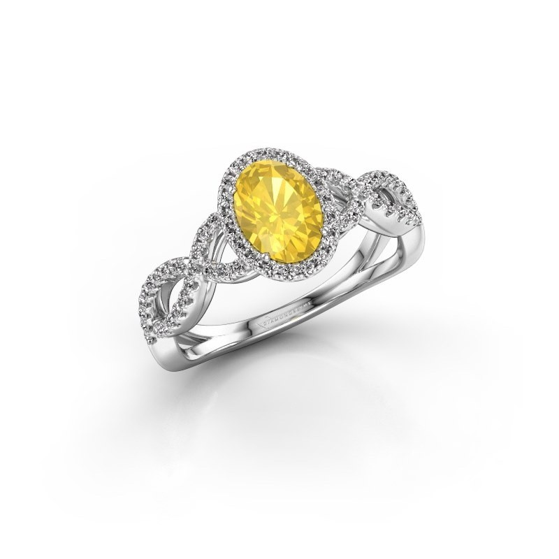 Engagement ring Dionne ovl 585 white gold yellow sapphire 7x5 mm