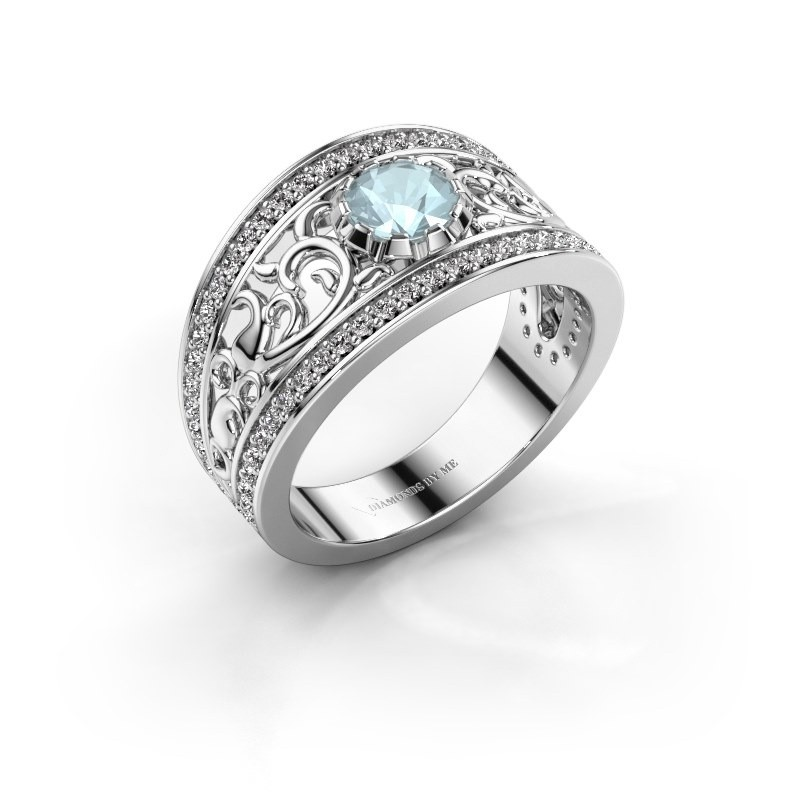 Ring Marilee 585 witgoud aquamarijn 5 mm