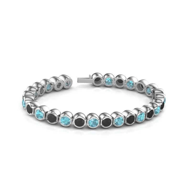 Tennisarmband Delma 585 witgoud blauw topaas 5 mm