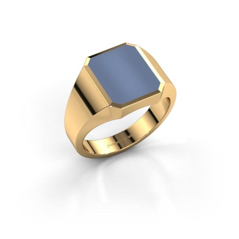 Zegelring Lars 2 375 goud licht blauwe lagensteen 12x10 mm