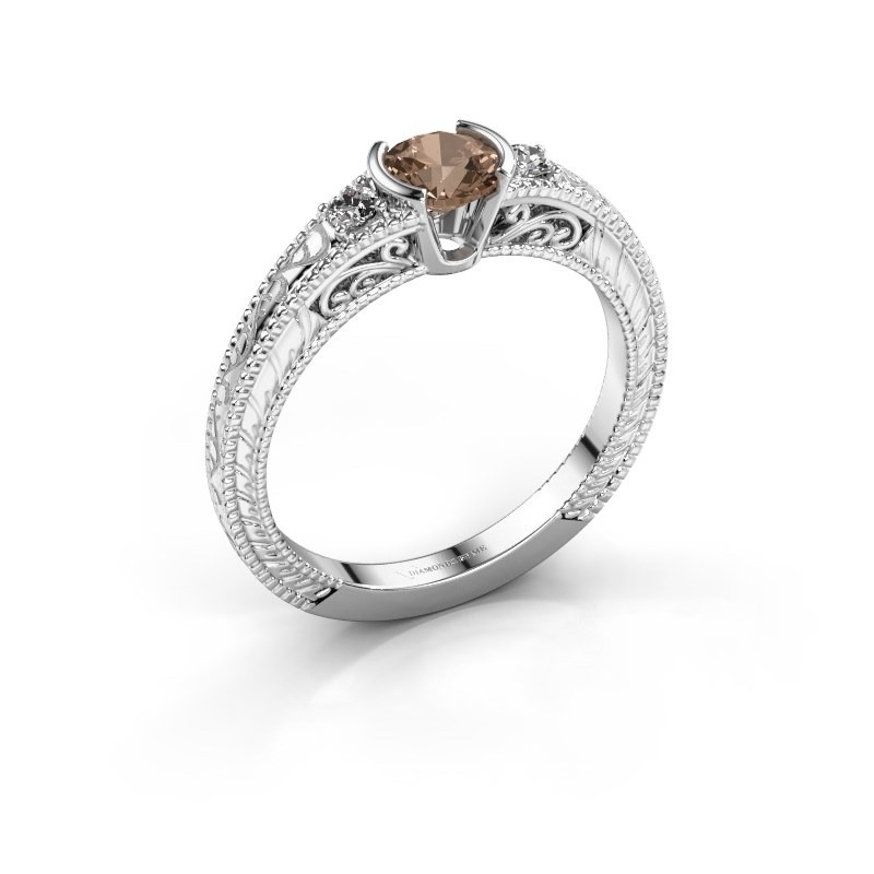 Verlovingsring Anamaria 950 platina bruine diamant 0.59 crt