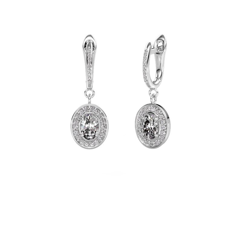 Drop earrings Layne 2 950 platinum zirconia 7x5 mm