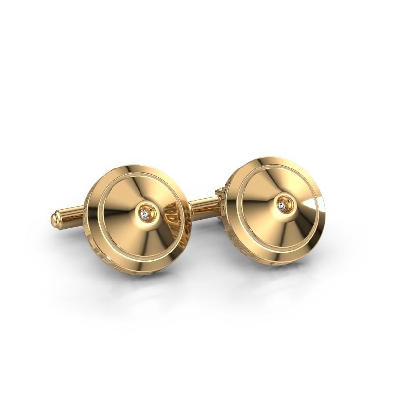 Manchetknopen Demian 585 goud zirkonia 2.2 mm