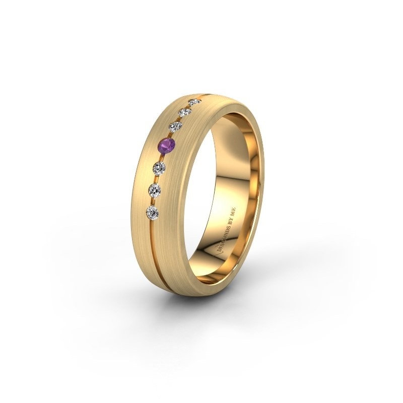 Wedding ring WH0162L25A 585 gold amethyst ±0.22x0.07 in