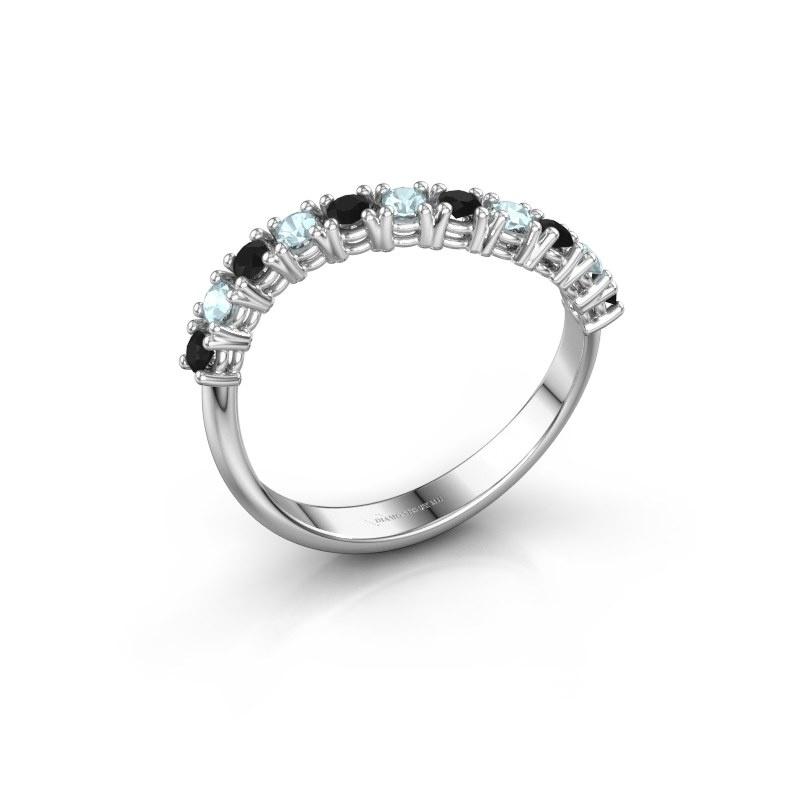 Ring Eliza 585 witgoud zwarte diamant 0.216 crt