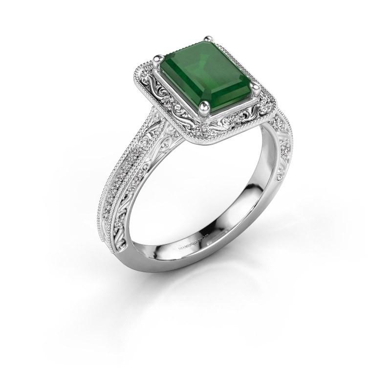 Verlovings ring Alice EME 950 platina smaragd 7x5 mm