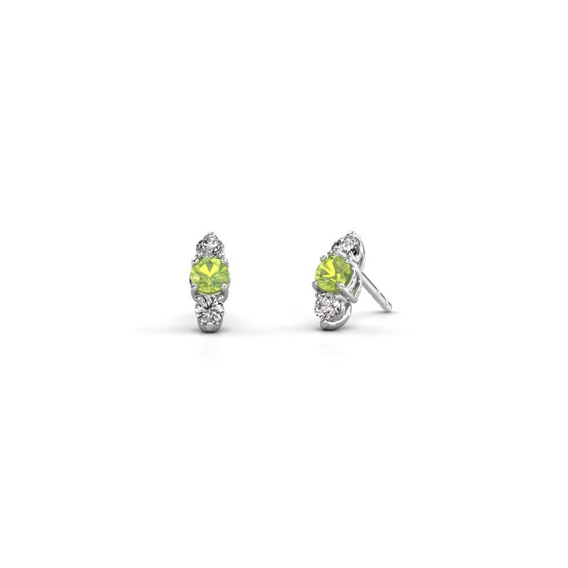 Ohrringe Amie 585 Weißgold Peridot 4 mm