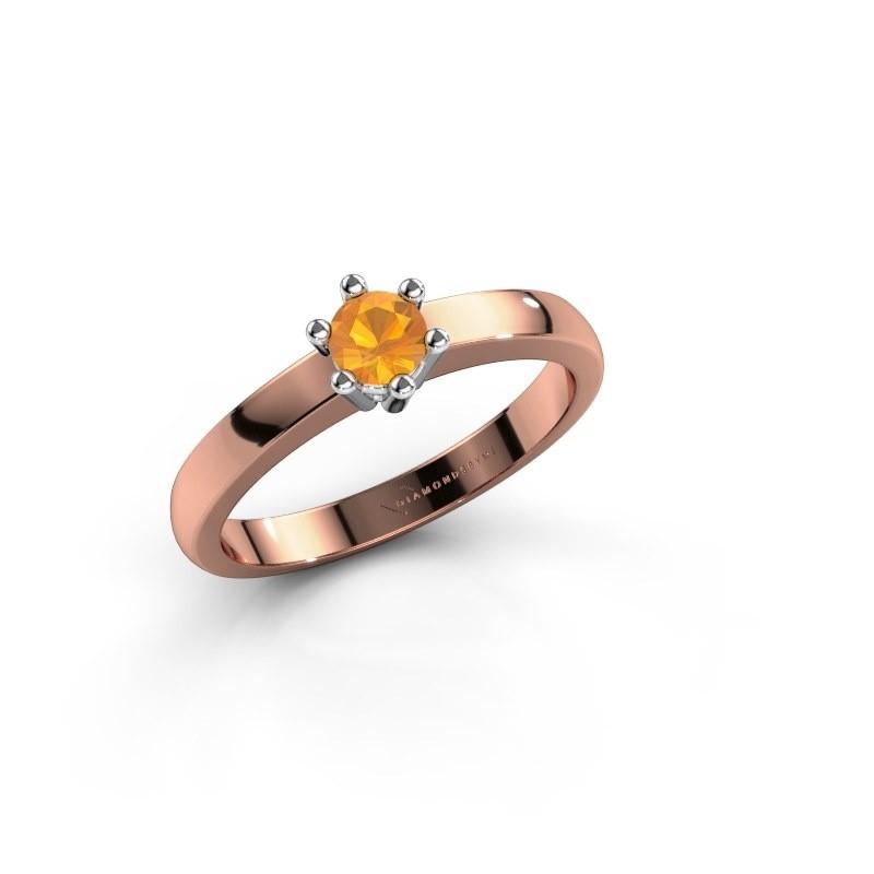 Verlovingsring Luna 1 585 rosé goud citrien 3.7 mm