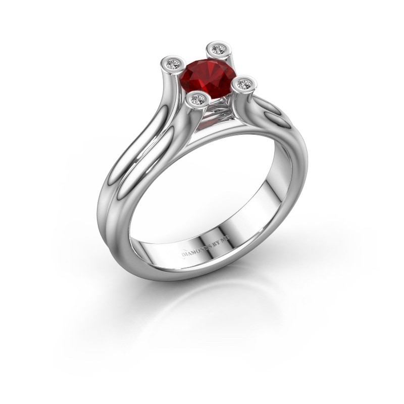 Engagement ring Stefanie 1 375 white gold ruby 5 mm