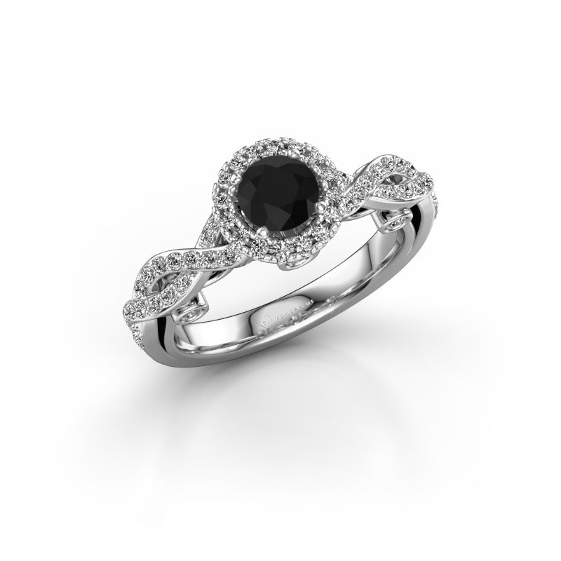 Verlovingsring Madeleine 950 platina zwarte diamant 1.072 crt