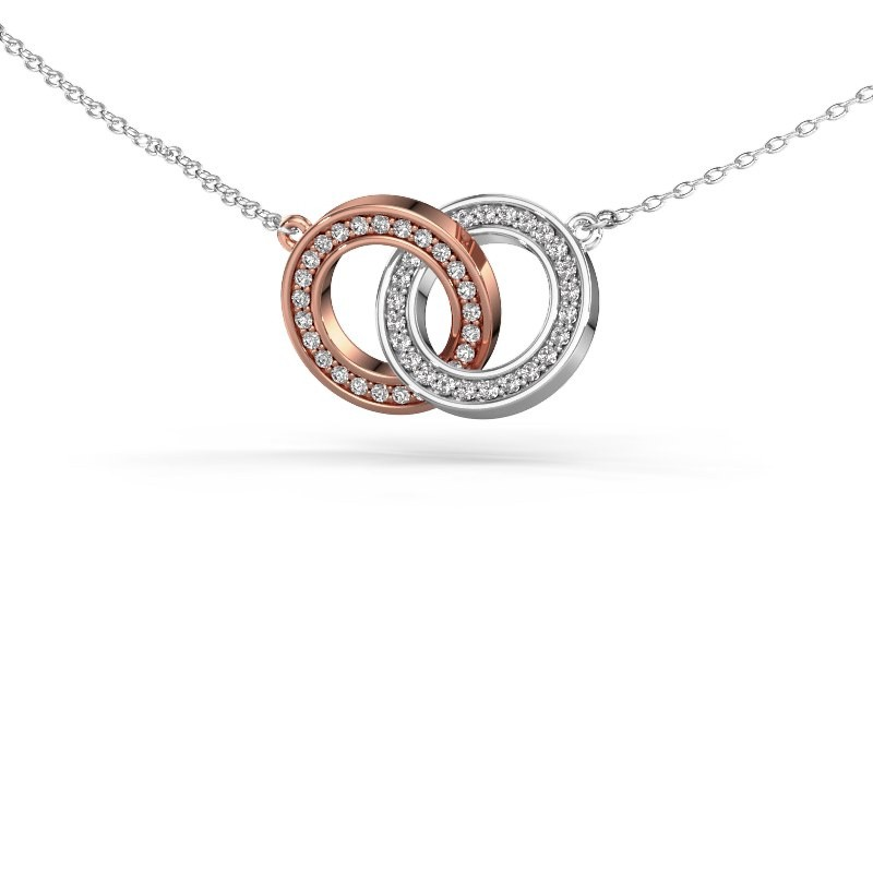 Necklace Circles 2 585 rose gold diamond 0.25 crt