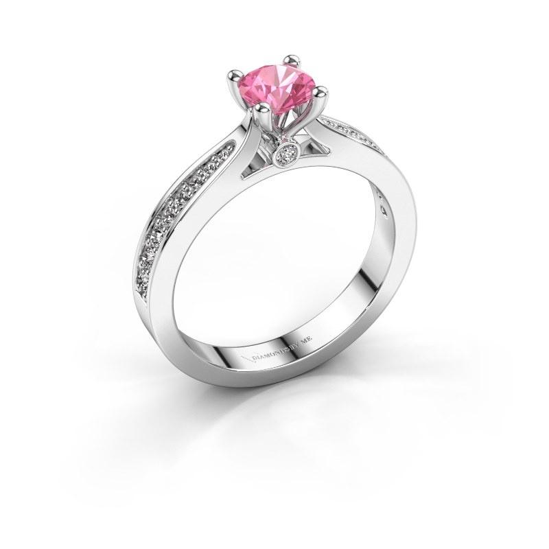 Verlovingsring Evelien 925 zilver roze saffier 5 mm