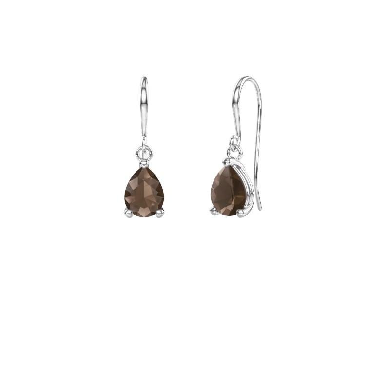 Drop earrings Laurie 1 375 white gold smokey quartz 8x6 mm