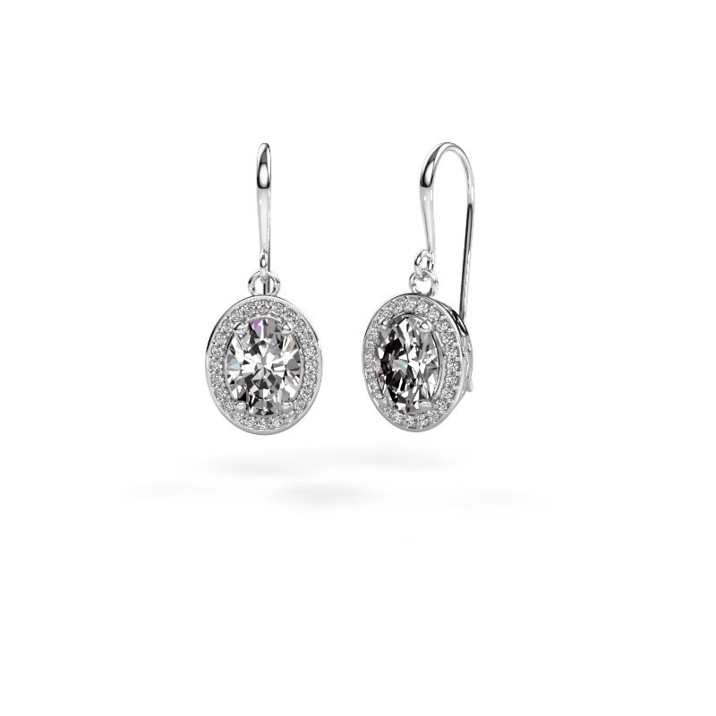 Drop earrings Latesha 375 white gold zirconia 8x6 mm
