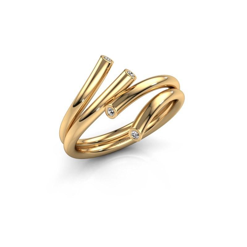Ring Siewke 585 goud diamant 0.048 crt