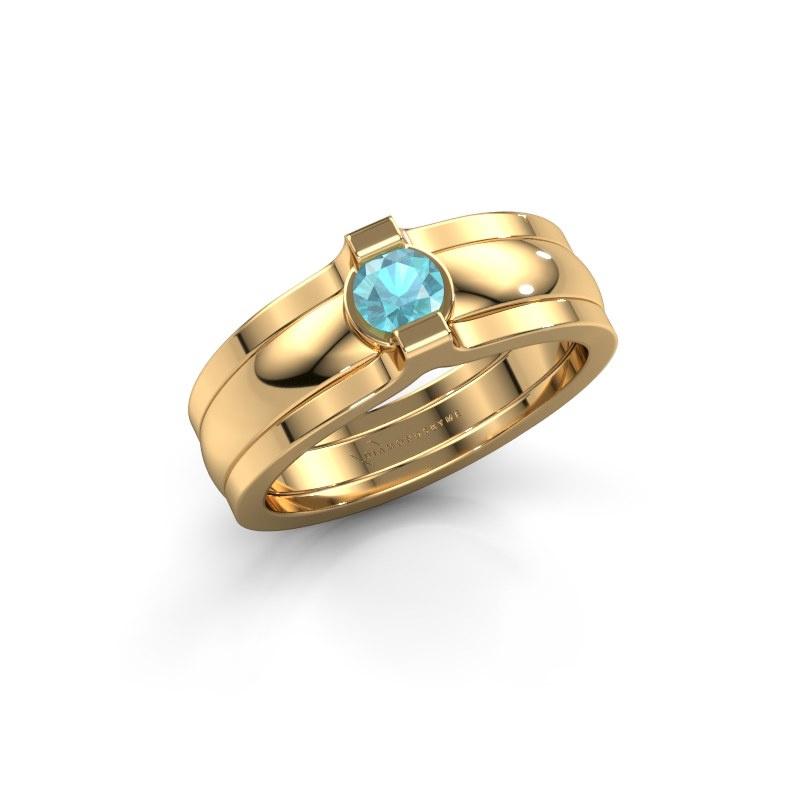 Ring Jade 585 gold blue topaz 4 mm