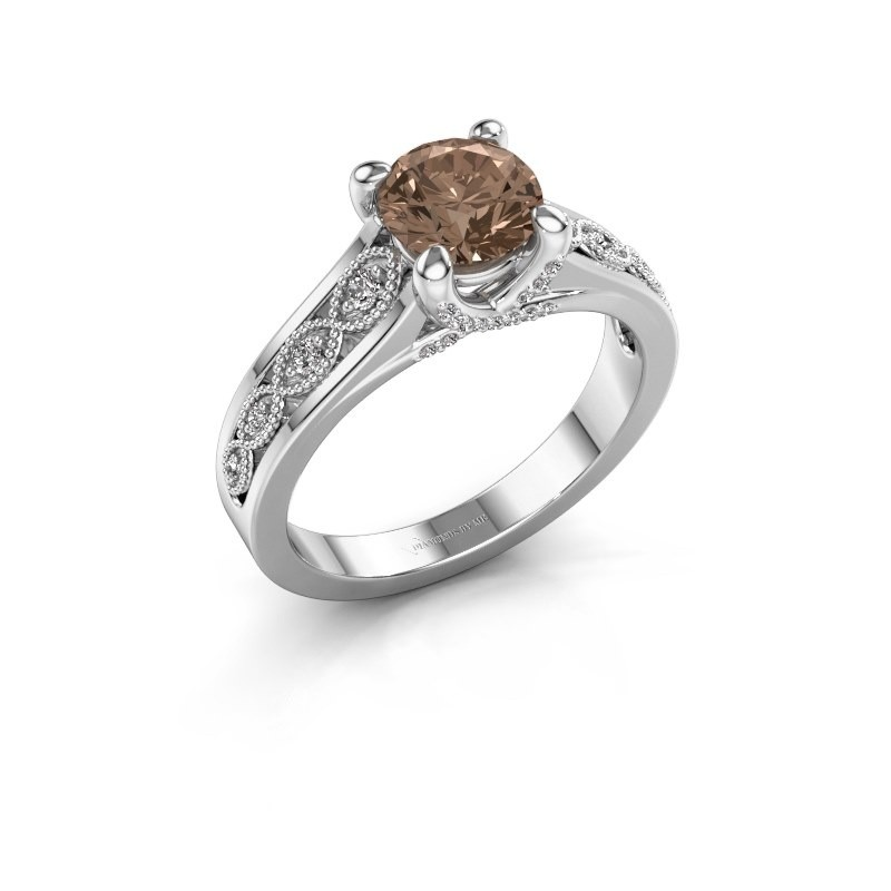 Aanzoeksring Clarine 585 witgoud bruine diamant 1.16 crt