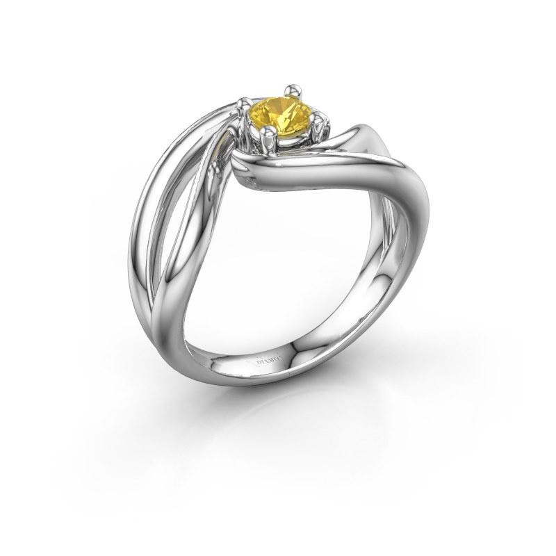 Ring Kyra 950 platina gele saffier 4 mm