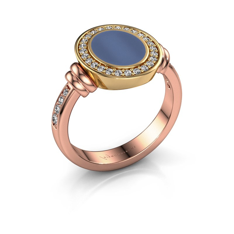 Signet ring Bailey 585 rose gold blue sardonyx 10x8 mm