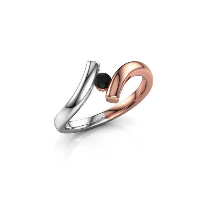 Ring Amy 585 rosé goud zwarte diamant 0.12 crt