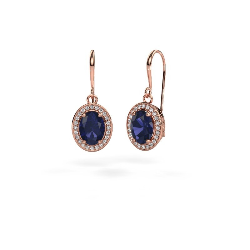 Drop earrings Latesha 375 rose gold sapphire 8x6 mm