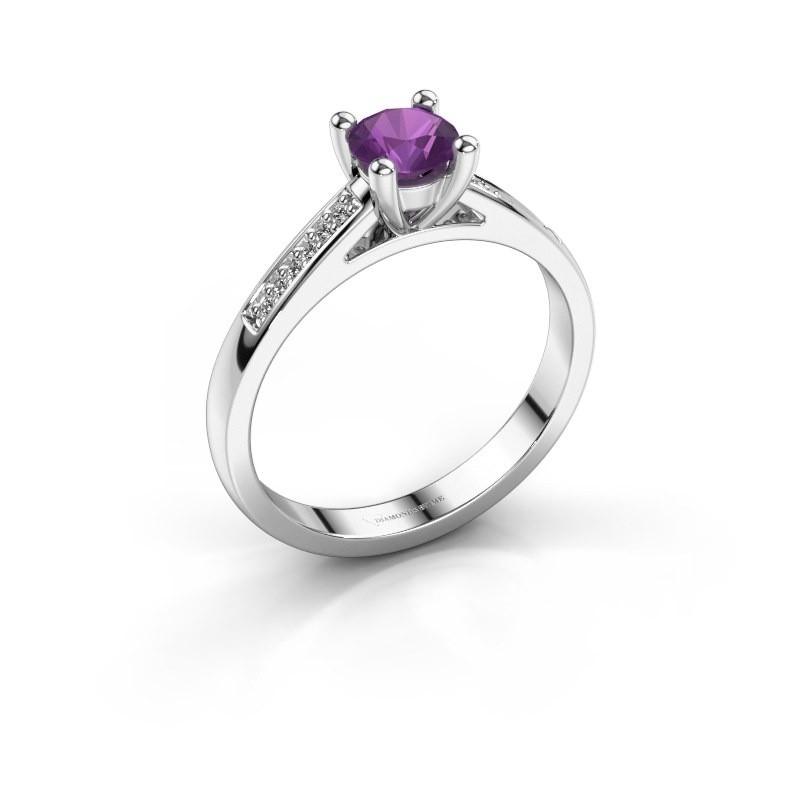 Engagement ring Nynke 950 platinum amethyst 4.7 mm