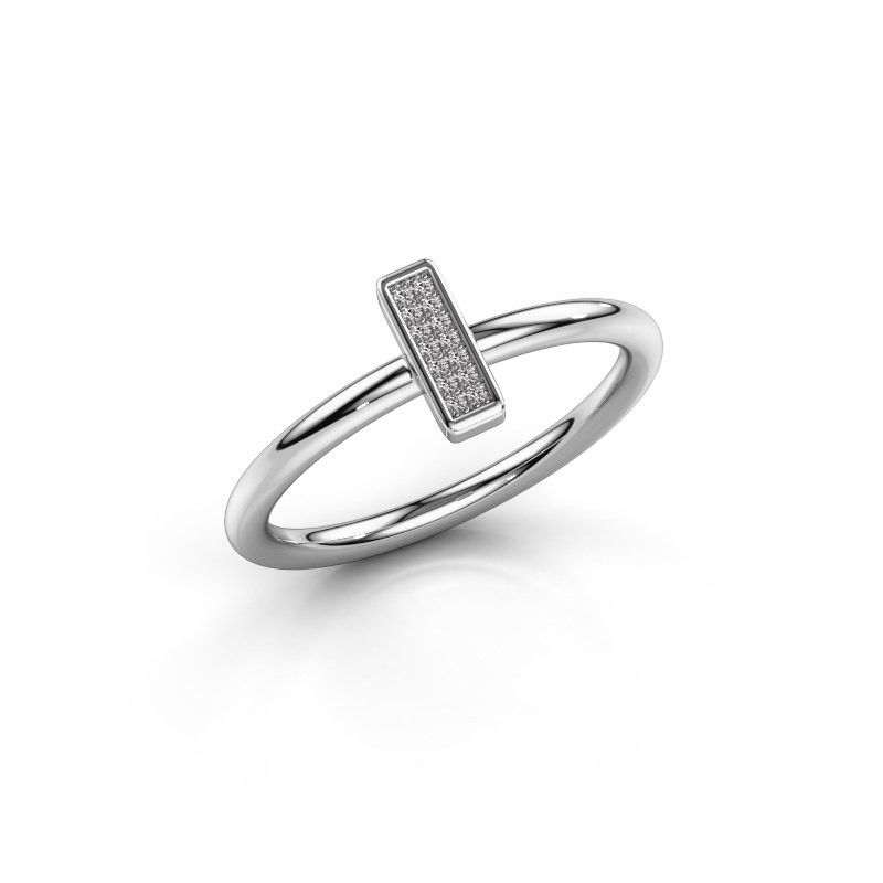 Ring Shape stripe small 585 witgoud zirkonia 0.8 mm
