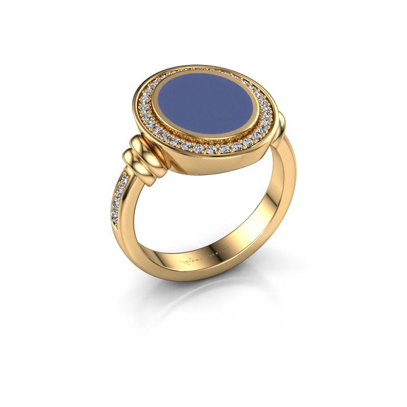 Siegelring Servie 2 585 Gold Blau Emaille 12x10 mm