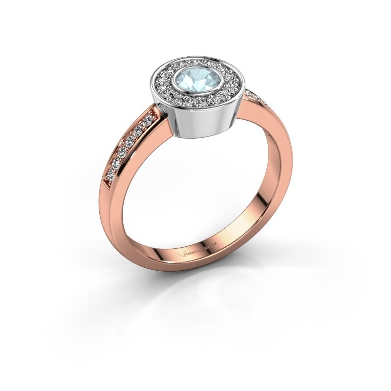 Ring Adriana 2 585 Roségold Aquamarin 4 mm