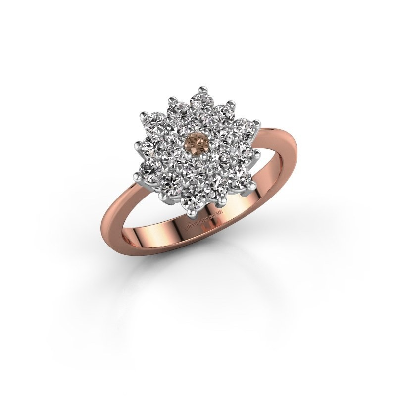 Engagement ring Vickey 2 585 rose gold brown diamond 0.03 crt
